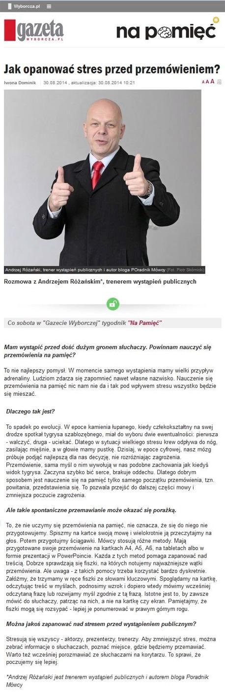 """Wywiad z Andrzejem Różańskim Trenerem Wystąpień Publicznych w temacie """"Jak opanować stres przed przemawianiem"""""""