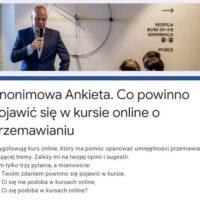Anonimowa Ankieta. Co powinno pojawić się w kursie online o przemawianiu